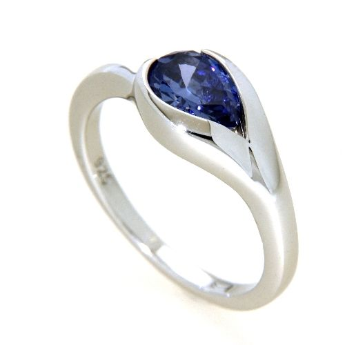 Ring Silber 925 rhodiniert Weite 54 Zirkonia tansanitfarben