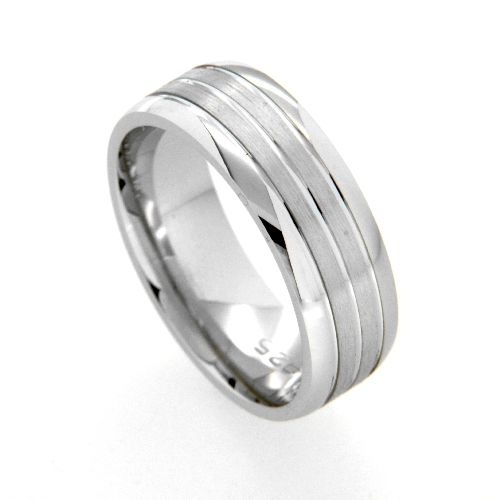 Freundschaftsring Silber 925 rhodiniert Breite 7 mm Weite 68