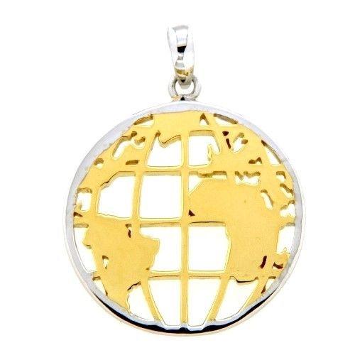 Anhänger Silber 925 rhodiniert & vergoldet Weltkarte