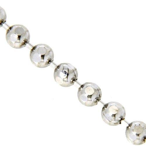 Kette Silber 925 rhodiniert 45 cm Kugelkette diamantiert