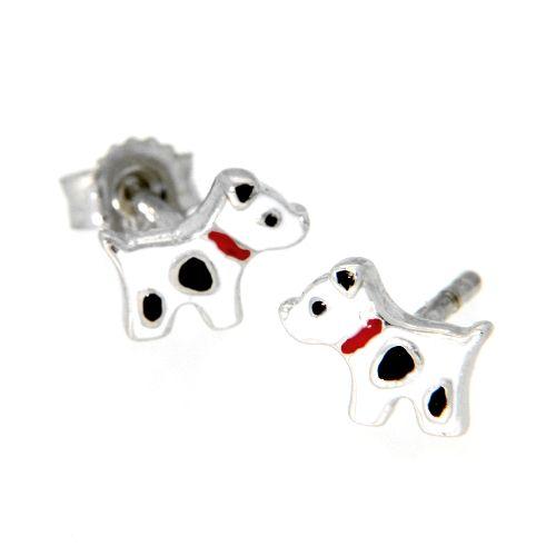 Ohrstecker Silber 925 rhodiniert Hund