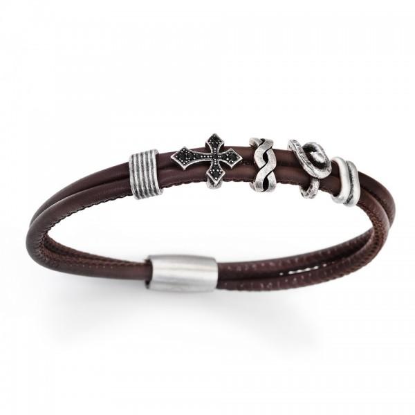 AMEN Armband 19,5 cm Leder BR305-M