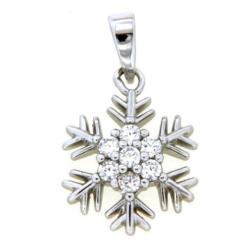 Anhänger Silber 925 rhodiniert Schneeflocke