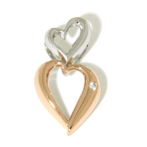 Herzanhänger Silber 925 rhodiniert & rosé vergoldet