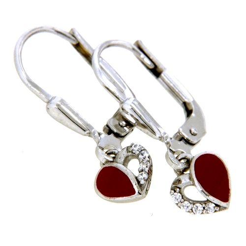 Ohrpendel Silber 925 rhodiniert Herz rot lackiert