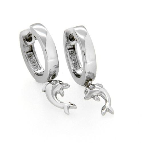 Scharniercreolen Silber 925 rhodiniert Delfin - Anhänger