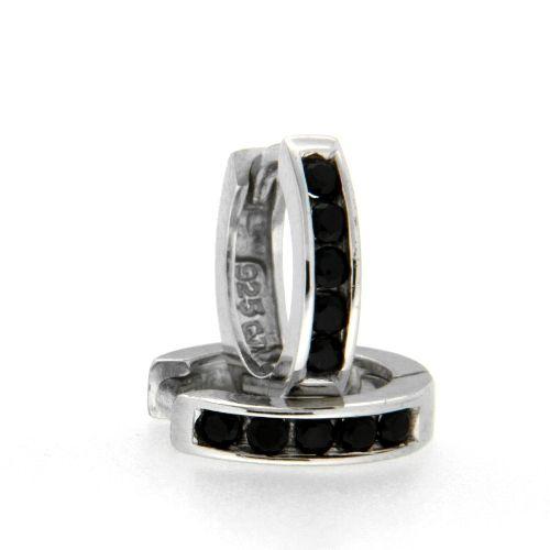 Scharniercreolen Silber 925 rhodiniert Zirkonia schwarz