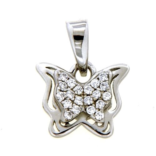 Anhänger Silber 925 rhodiniert Schmetterling Zirkonia