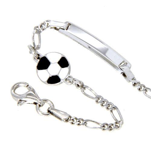 Identitäts-Armband Silber 925 rhodiniert 14-12 cm Fußball