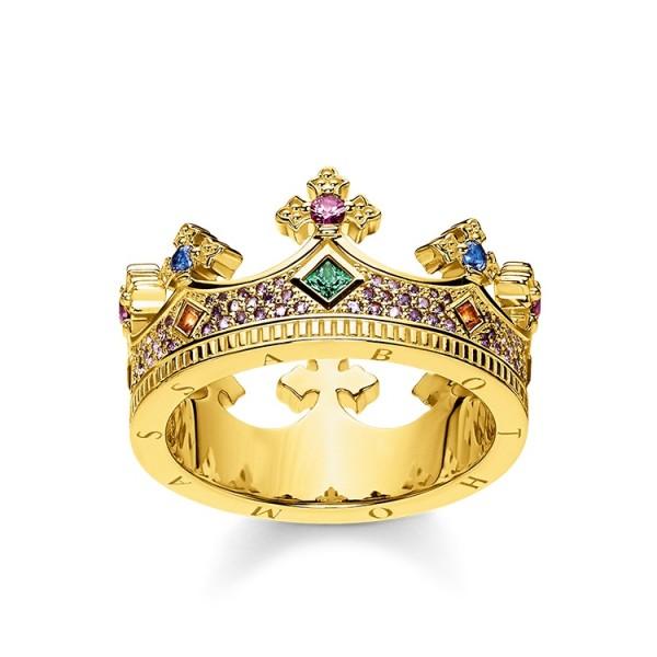 Thomas Sabo Ring Krone vergoldet Größe 52 TR2265-973-7-52