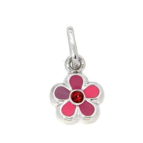 Anhänger Silber 925 rhodiniert Blume pink