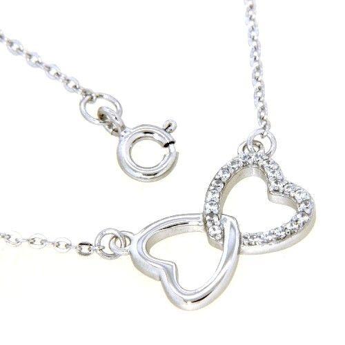 Collier Silber 925 rhodiniert 42+3 cm Herz in Herz