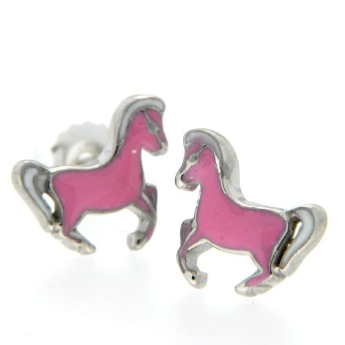 Ohrstecker Silber 925 rhodiniert Pferd pink