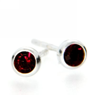 Ohrstecker Silber 925 Glas rot 3mm