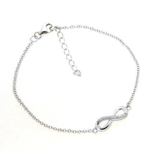 Armband Silber 925 rhodiniert 17+3 cm Unendlichkeit Zirkonia