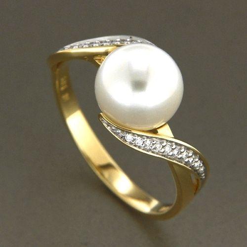 Ring Gold 585 Weite 60 Süßwasserperle Brillant 0,08 ct.