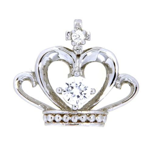 Anhänger Silber 925 rhodiniert Krone