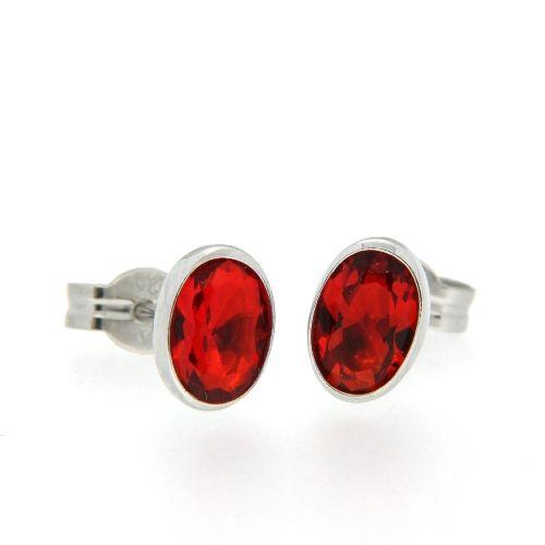 Ohrstecker Silber 925 rhodiniert rot