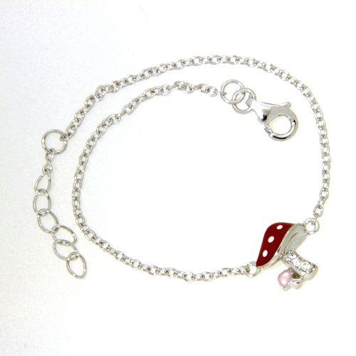 Armband Silber 925 rhodiniert 14+2 cm Fliegenpilz Zirkonia Emaille rot, rosa, weiß