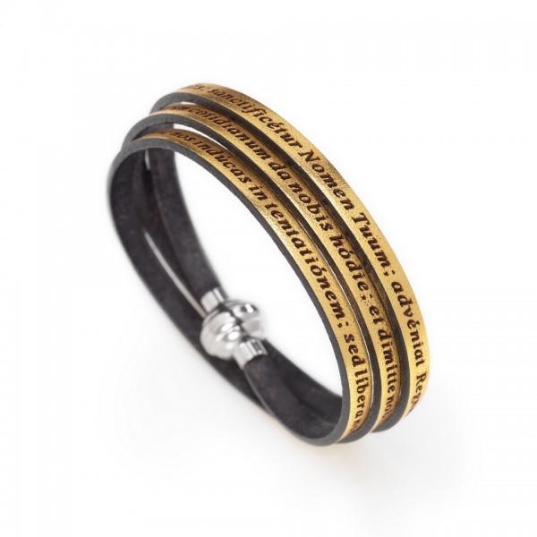 AMEN Armband 60 cm Leder goldfarben VATER UNSER Latein PNLA19-60