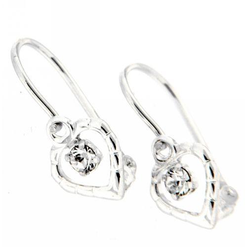 Bouton Silber 925 Herz Glas weiß