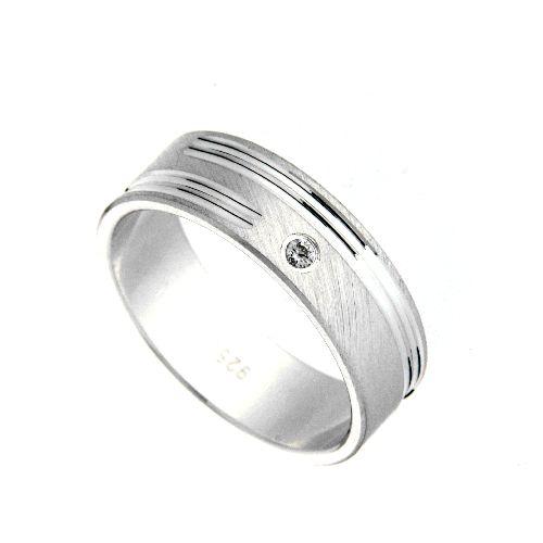 Freundschaftsring Silber 925 Zirkonia Breite 6 mm Weite 57