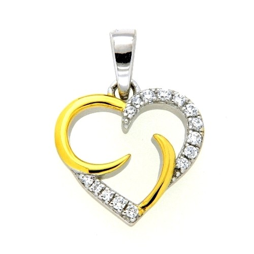 Herzanhänger Silber 925 rhodiniert & vergoldet