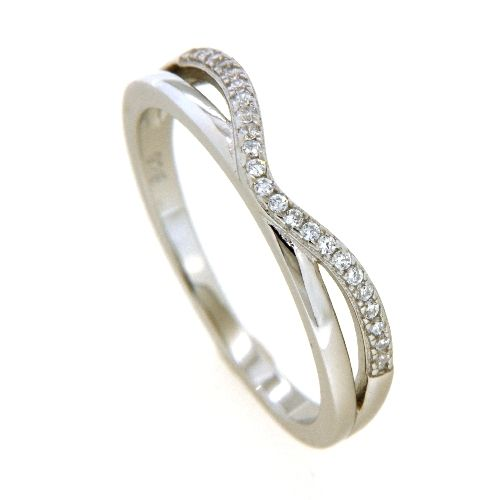 Ring Silber 925 rhodiniert Weite 50Zirkonia