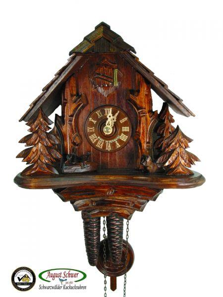 August Schwer Kuckucksuhr 1T Forsthütte 23 cm 1.0317.01.P