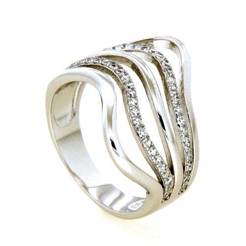 Ring Silber 925 rhodiniert Weite 58 Zirkonia