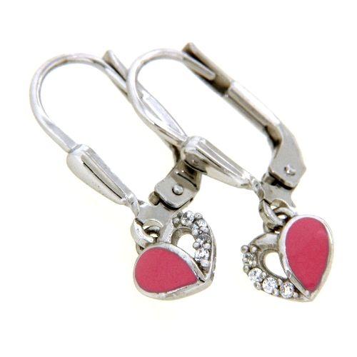 Ohrpendel Silber 925 rhodiniert Herz pink lackiert