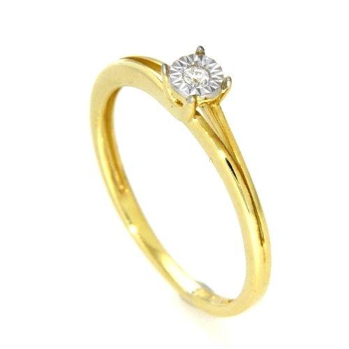 Ring Gold 585 bicolor Weite 54 Gelbgold/Weißgold zweiteilig Brillant 0,03 ct. WSI