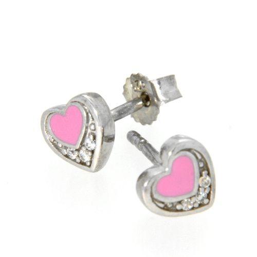 Ohrstecker Silber 925 rhodiniert Zirkonia Herz pink
