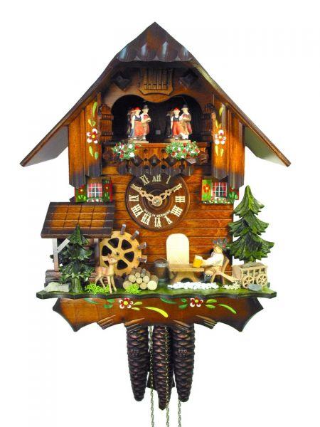 August Schwer Kuckucksuhr 1T Haus Mühlrad Biertrinker 31 cm 4.0443.01.C