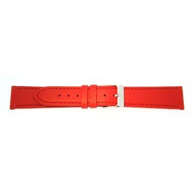 Uhrarmband Leder 20mm rot Edelstahlschließe