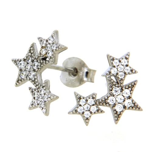 Ohrstecker Silber 925 rhodiniert Sterne