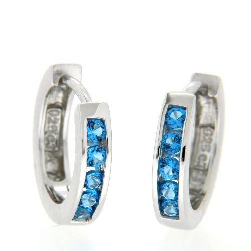 Scharniercreolen Silber 925 rhodiniert Zirkonia blau