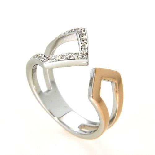 Ring Silber 925 rhodiniert rosé vergoldet Zirkonia Weite 58