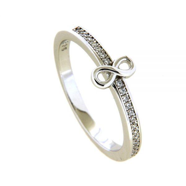 Ring Silber 925 rhodiniert Unendlichkeit Weite 58