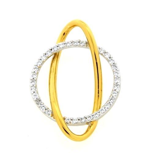 Anhänger Silber 925 rhodiniert & vergoldet Zirkonia