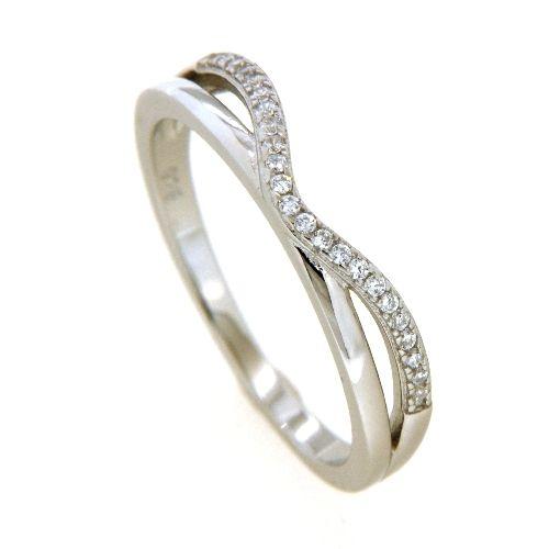 Ring Silber 925 rhodiniert Weite 52 Zirkonia
