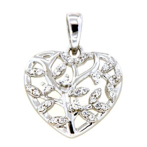 Herzanhänger Silber 925 rhodiniert Lebensbaum Zirkonia