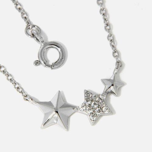 Kette Silber 925 rhodiniert 42+3 cm Sterne
