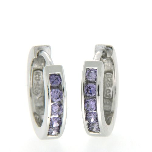Scharniercreolen Silber 925 rhodiniert Zirkonia -amethystfarben