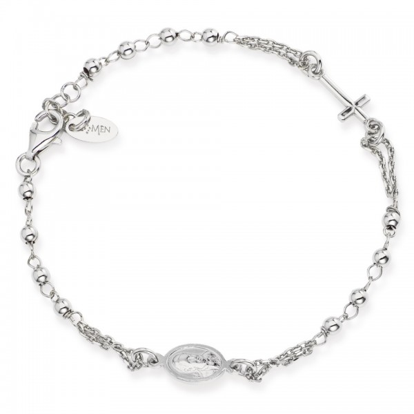 AMEN Armband 18 +2 cm Silber Rosenkranz BROB3