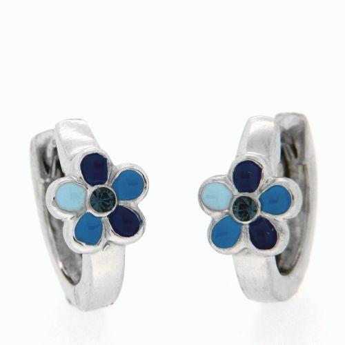 Scharniercreolen Silber 925 rhodiniert Blume blau