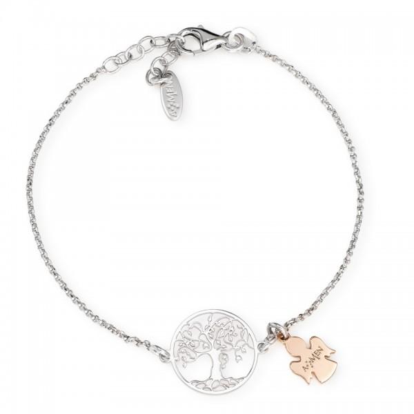 AMEN Kette Lebensbaum und Engel 16 + 3 cm Silber BRALABR3