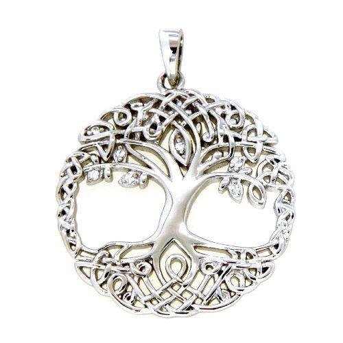 Anhänger Silber 925 rhodiniert Lebensbaum Zirkonia