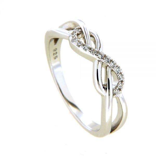 Ring Silber 925 rhodiniert Unendlichkeit Weite 52