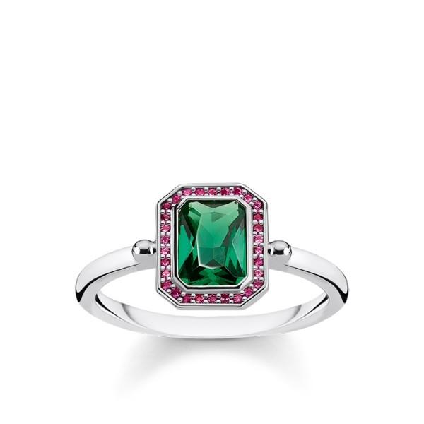 Thomas Sabo Ring rot und grüne Steine Größe 52 TR2264-348-7-52